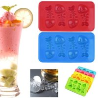 Wholesale Ice Tray Fish - Silicone Ice Cube Cute Fish Bone Shaped Trays Ice Cube Mold DIY Candy Chocolate Maker Mold Kitchen Accessories