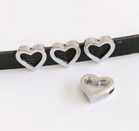 Wholesale wholesale slide bracelet accessories for sale - 50pcs mm Silver Hollow Heart Slide Charms Slide Letters Hang Pendants DIY Accessories Fit mm Belts bracelets necklaces