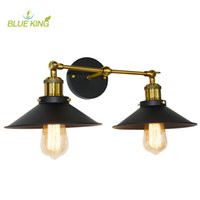 vintage wandmontage lampen großhandel-Retro Two Swing Arm Wall Lamps Wandleuchten Eisenschirm lackiert Finish RH Restoration Light Fixture, Wandhalterung Swing Arm Lamps