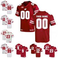 ingrosso jersey personalizzato-Personalizzato Wisconsin Badgers # 12 Alex Hornibrook 53 TJ Edwards 67 Jon Dietzen Personalizzato cucito qualsiasi nome numero College Football Jersey