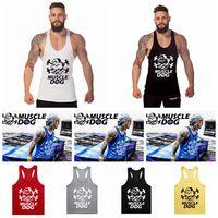 Wholesale Building Clothes - Muscle Dog Singlet Tank Top Vest Body Building Y-back Training Gym Stringer Shirt Top Vest Gym Clothing 60pcs OOA4946