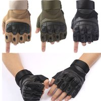 Wholesale half table - Tactical Half Finger Gloves Shooting Military Combat Gloves With Soft Shell Airsoft Fighting Mitten Support FBA Drop Shipping G699F
