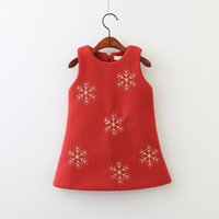 Wholesale Girls Red Wool Dress - Christmas Winter Girls Flower dresses 2018 Baby Girls Fashion Woolen Dress Babies Sleeveless Dress Kids Clothing