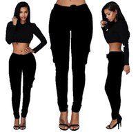 Wholesale low waist sexy girls jeans for sale - Group buy Elastic Waist Pants Skinny Fashion Women Pockets Pants Girl Ladies Sexy Clothes Leggings Trousers Skinny Pencil Jeans Slim Leggings Pants