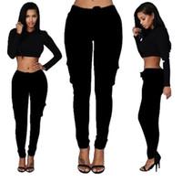 sexy leggings jeans damen großhandel-Elastische Taillen-Hosen-dünne Art und Weise Frauen Taschen-Hosen-Mädchen-Damen Kleidung Sexy Leggings Hosen dünner Bleistift-Jeans-dünne Gamaschen-Hosen