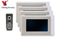 gegensprechanlagen großhandel-YobangSecurity 7 Zoll Farbe LCD Villa Video-türsprechanlage Türklingel Intercom Entry System Kit 4-Monitor 1-Kamera Haus Tor Intercom