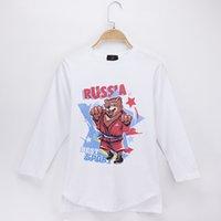 bebek ayı kıyafetleri toptan satış-2018 Yeni Çocuk Giyim Çocuklar T-Shirt Rus Ayı% 100% Pamuk O-Boyun tam Uzun Kollu Çocuk Gömlek Boys T Gömlek Grils Bebek Üstleri Tee