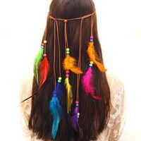 желтые полоски пота оптовых-Богемия стиль Женщины девушки павлин перо оголовье хиппи аксессуары для волос женщины головной убор коса волос группа голова веревка