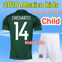 Wholesale National Children - 2017 Mexico national team Kids Soccer Jerseys Child youth boys Uniform Green Kit 2018 World Cup G.Dos Santos CHICHARITO football shirt Set