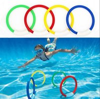 Wholesale dive rings wholesale - Children Underwater Diving Rings Kids Water Play Toys Sport Diving Buoys Swimming Pool Accessories 4pcs set OOA4778