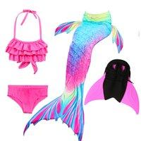 küçük kızlar yüzme takımları toptan satış-14 Renkler Kızlar Yüzme Denizkızı Kuyruğu ile Mayo Çocuk Ariel Küçük Denizkızı Kuyruğu Kostüm Çocuk Mayo
