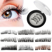 Wholesale tool magnets for sale - Natural D Triple Mink Magnetic False Eyelashes Handmade Glue Free Magnet Eye Lashes Extension Make up Tools
