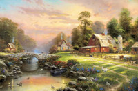 Wholesale canvas farm - Sunset At Riverbend Farm Thomas Kinkade Oil Paintings Art Wall Modern HD Print On Canvas Decoration No Frame