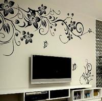 stickers fleurs noires grand achat en gros de-Autocollants de mur de vigne de fleur noire décor à la maison grandes fleurs en papier salon chambre décoration murale autocollant sur le papier peint