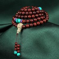 ingrosso legno di sandalo rosso mala-Natural Lobular Red sandalwood High Oil 108 Mala Bead Braccialetto Buddista Preghiera String String Fine Jewelry High-end