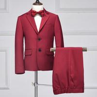 casaco de meninos venda por atacado-Personalizado vinho tinto menino bonito terno menino moda slim terno de duas peças terno (jaqueta + calça) boy prom party formal dress