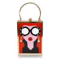 image boucles d'oreilles achat en gros de-Lunettes vintage femmes lèvre rouge image sac de fête acrylique fourre-tout mode boucle d'oreille sac à main élégante chaîne en métal mini cross body sacs