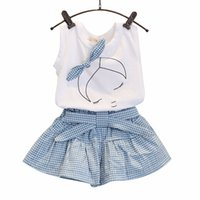Wholesale Winter Clothings - Summer Dress girl Kids Girls Cute Bow Girl Pattern Shirt Top Grid Shorts Set Clothing Casual clothings