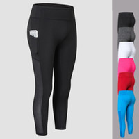 Wholesale workout pants wholesale - High Waist Yoga Pants with Pocket Outdoor Running Workout Wear Yoga Leggings for Women Gym Fitness Cropped Trousers Pants