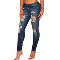 jeans escuro destruído venda por atacado-Novas Mulheres Moda Escuro Sandblast Wash Denim Destruído Jeans Skinny Lazer Modis Calças Jeans Lápis Calca Frete Grátis