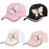 Nuevo estilo de moda Wholsale Marca Cap Gorra de béisbol Sombrero cabido  Ocasional Crystal Butterfly Denim Rhinestone Snapback Sombreros de las  mujeres ea483318bc2