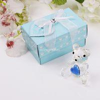 figuritas de cristal al por mayor-100 piezas de oso de peluche estatuillas de cumpleaños fiesta de regalo colección de cristal -Pink para Baby Girl favores de la ducha