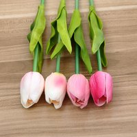 Wholesale blue sky bar - Popular Simulation Tulip Flower Fragrant Multi Color Hand Flowers For Home Bar Wedding Valentines Day Decorations High Quality 1 6zp Y