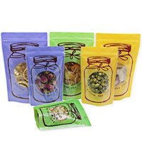 Wholesale clear plastic flower bags resale online - Mason Jar Shaped Food Container Plastic Bag Clear Bottle Zippers Lock Storage Snacks Plastic Bag for Flower Tea Snacks Coffee LZ1862