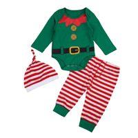 bebés abrigos de invierno sombreros al por mayor-Bebés Recién Nacidos Bebés Niñas Pantalones Mameluco Sombrero Trajes de Algodón Conjunto de Ropa de Navidad 3 Unids Otoño Abrigo de Invierno 0-24 M