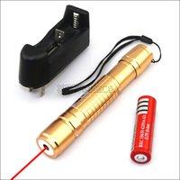 lazer işaretçi piller toptan satış-Piller Şarj RX2 650nm Altın Ayarlanabilir Odak Kırmızı lazer pointer kalem