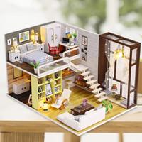 kits de madera modelo al por mayor-NUEVA Miniatura Mini Tamaño DollHouse Kits de Edificio Modelo Muebles de Madera Juguetes Ciudad Contratada Estilo Regalo juguetes Niños Novia