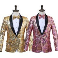 pajarita rosada para hombre al por mayor-2018 Mens Pink Gold Flower Sequins Fancy Paillette Cantante de Boda Chaqueta de traje de rendimiento de la etapa anual DJ Blazer con pajarita
