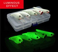 grupo de señuelos al por mayor-Grupo de peces Luminoso 5 kits de cebo Night Fishing Lure Bait Kit Luminous VIB Popper manivela Minnow Pencil Glow In Dark Artificial Lures