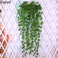 pflanze girlande großhandel-2 stücke Künstliche Ivy Silk Greenery Pflanzen Blätter Garland Pflanzen Vine Gefälschte Blume Rattan Laub Hause Hochzeitsdekor