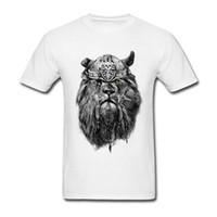 camisa de león fresco al por mayor-Nuevo diseño creativo único de los hombres Viking Rey León 100% algodón camiseta Cool Tops manga corta Hipster Cool Tees para niños 2018