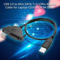 câble dvd sata achat en gros de-Adaptateur USB 2.0 vers mini-SATA 7+ 6 Câble de convertisseur adaptateur 13 broches pour lecteur CD / DVD ROM Slimline