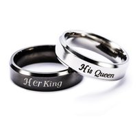 Wholesale cheap couples ring - Couple Rings Cheap Rings Simple Engagement Rings Jewelry Letter King Queen Ring Stainless Steel Hot Sale
