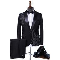Wholesale ceremony suits men - (jacket+tie+pants) Tide male Adult costume Sparkly Diamond Men Suit Bar Singer Prom Chorus Wedding master of ceremonies costume
