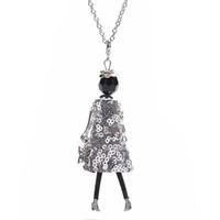 кулон для девочки оптовых-New Women Doll Cute Black Long Necklaces & Pendant Hot Dress Baby Girls Maxi Necklace  Fashion Statement Jewelry