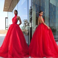 Wholesale Dress Back Designs Halter - Puffy Ruffles Tulle Long 2018 Prom Dresses Ball Gowns Halter Neck Keyhole Designed Sexy Backless Vestidos de fiesta Black Girl Evening Gowns