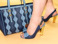 Wholesale Pink Matching Shoes Bags - 2018 Fashionable lady high heel shoes perfect matching with handbag for lady African Women Matching Italian Shoe and Bag Set