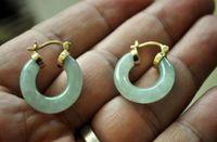 aros de jade venda por atacado-Natural Luz verde GP Jade ouro amarelo 18K brincos de argola