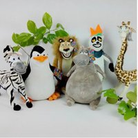 Wholesale lion plush - Madagascar Alex Marty Melman Gloria plush toys lion zebra monkey Penguin hippo soft toys animal stuffed doll KKA4993