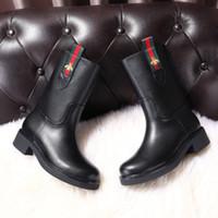 tubo de caballero al por mayor-Nuevas botas de tacón gruesas de cuero, zapatos de mujer de lujo, botas de caballero de piel de abeja de tubo alto con botas de mujer