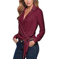 8af15ec220 Sexy Blusas Nueva Solapa Casual Manga Larga Pajarita Blusas de las mujeres  Tops 2018 Primavera Otoño Mujeres Oficina Trabajo Blusa Más Tamaño Camisas