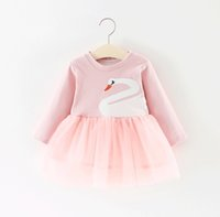 Wholesale Baby Swan Dress - Baby Girls Swan Gauze Dresses Spring 18 Kids Boutique Clothing Korean 1-4T Little Girls Solid Color Long Sleeves Dresses