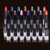 цветные тени для век оптовых-Hot 1pc Beauty  Glitter Eye Shadow Pen Convenient To Carry Double Colored Eyeshadow Two-color Lie Silkworm Pencil