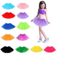 candy girl dresses venda por atacado-14 cores doces meninas tutu saia de dança dress macio plissado dress 3 camadas roupas infantis saia nna398