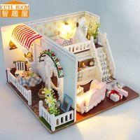 Wholesale model house kit diy resale online - Diy Miniature Wooden Doll House Furniture Kits Toys Handmade Craft Miniature Model Kits DollHouse Toys Gift For Children TD8
