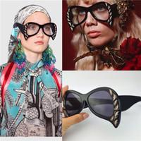 uv bastır toptan satış-Kadınlar son güneş gözlüğü özel tasarım zarif baskı çerçeve moda avant-garde tarzı en kaliteli UV koruma kedi gözler stil 0143